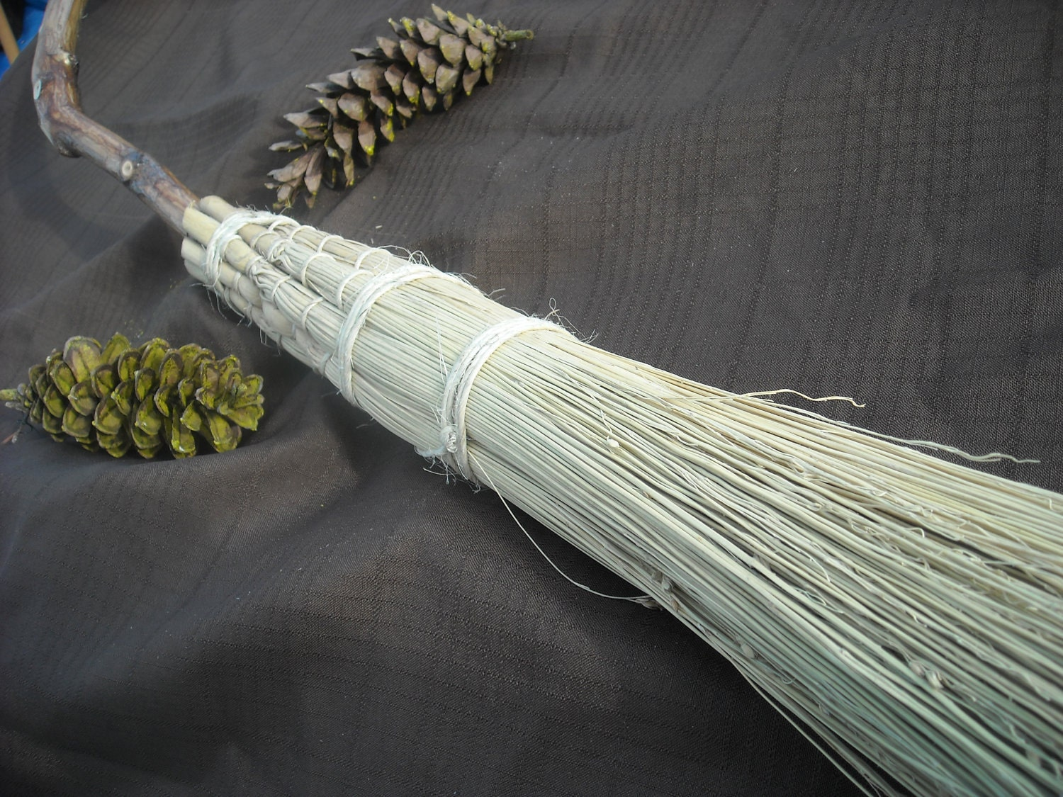 full size witchcraft wicca pagan besom or broom ritual tool