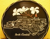 Vintage commemorative state metal tray- North Carolina