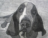 Basset Hound Art, Original Black and White Collograph, Print - Chester 5