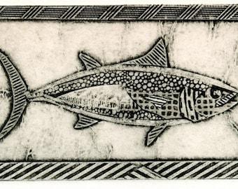 Skipjack Tuna (Black and White Collograph of Fish)