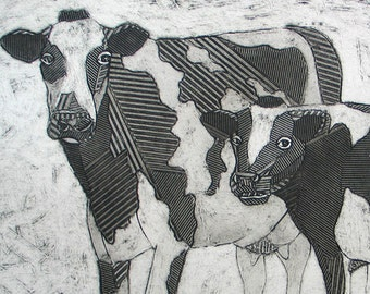 Cow Art - Black and White, Hand Pulled Collagraph, Original Fine Art Print - Holsteins Taking A Break 2