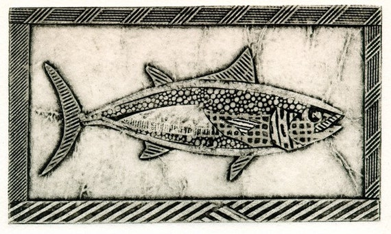 Skipjack Tuna (Black and White Collograph of Fish)