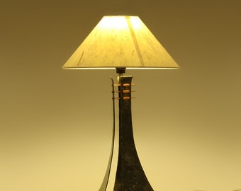 Table Lamp - Hand forged steel and copper Trichotomic Lamp - Wrought Iron