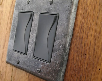 Metal Switchplate - Fire Cooked Double Rocker/Decora Wall Plate