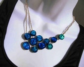Peacock Blue Statement necklace - dichroic glass