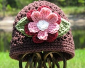 Chocolate Brown Beanie with Rose and Cranberry Detacheable Flower
