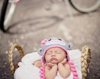 Pink and Gray Baby Girl Sock Monkey Hat