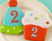 Cupcake or Party Hat Cookies - 12 Decorated Sugar Cookie Favors