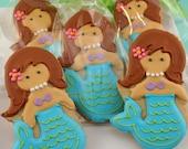 Mermaid Sugar Cookie (24 favors, bagged and bowed)