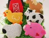 Farm Animal Cookies, Cow, Pig, Sheep, Duck, Horse, Barn (12 favors, bagged and bowed)