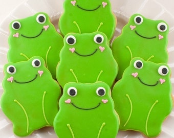 Frog Cookies, Garden Party, Baby Shower  - 12 Decorated Sugar Cookie Favors