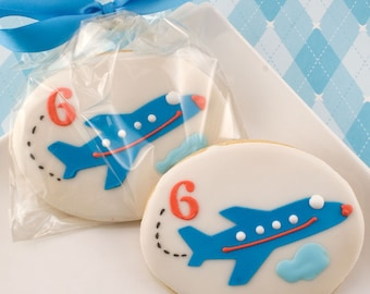 Airplane Cookies, Birthday Numbered - 12 Decorated Sugar Cookie Favors
