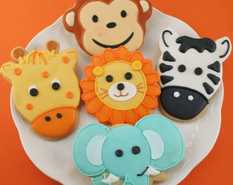 Animal Cookies (Monkey, Elephant, Giraffe, Lion, Zebra) Safari Jungle Party - 30 Decorated Sugar Cookie Favors