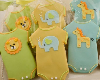 Baby Cookies, Animal Baby Shower Cookies, Elephant, Giraffe, Lion - 12 Decorated Sugar Cookie Favors