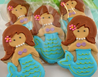 Mermaid Cookies - 18 Decorated Sugar Cookie Favors