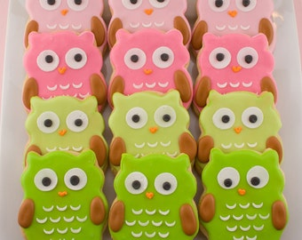 Owl Cookies - 30 Decorated Sugar Cookie Favors
