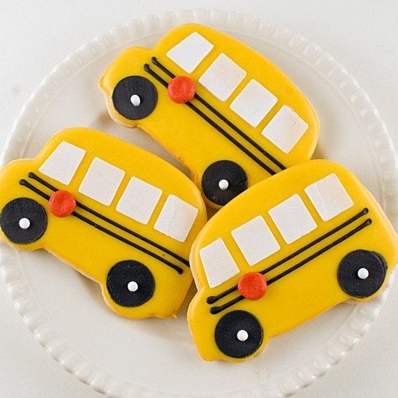 School Bus Cookies -( 24 Cookies, bagged & bowed)
