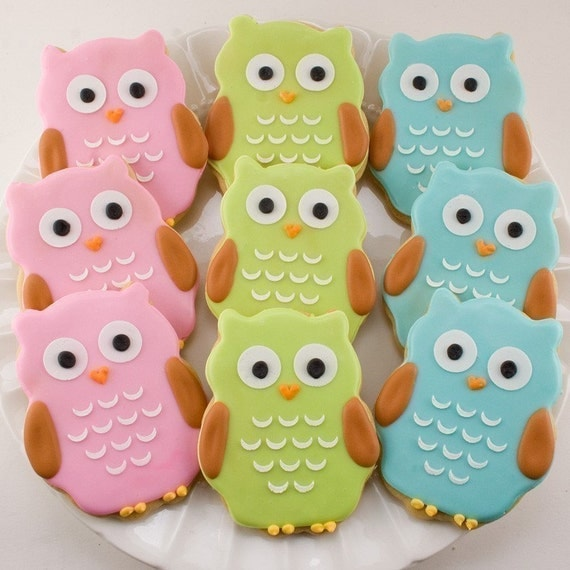Owl Sugar Cookie Favors - Any Color (1 Dozen Favors, gift bagged and bowed)