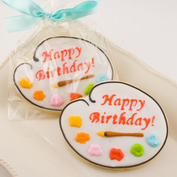 Art Palette Cookie Favors - 12 Decorated Cookies