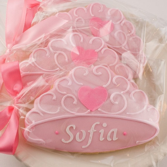 Princess for a Day - Personalized Crown/Tiara Cookies (12 Favors, Gift Bagged and Bowed)