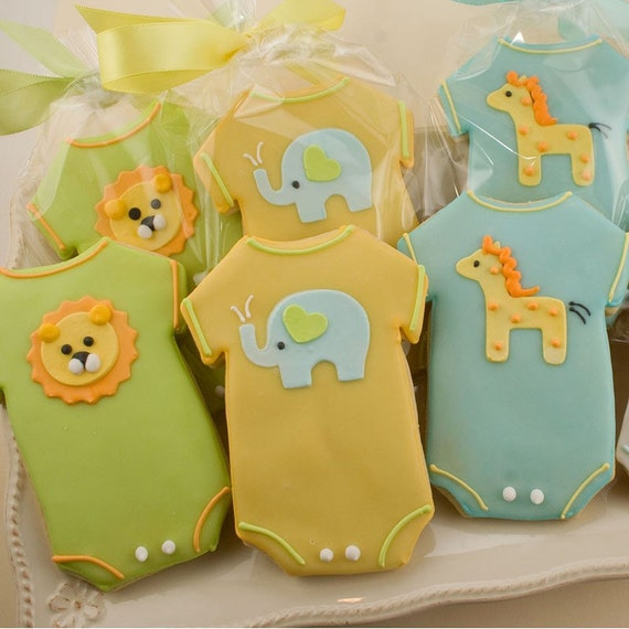 Baby Cookie Favors, Onesie Baby Shower, Elephant, Lion, Giraffe (12 favors, gift bagged and bowed)