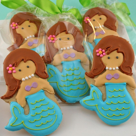 Mermaid Sugar Cookie (12 favors, bagged and bowed)