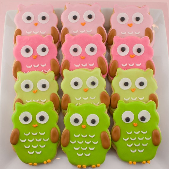 Owl Sugar Cookie Favors (12 favors, bagged and bowed)