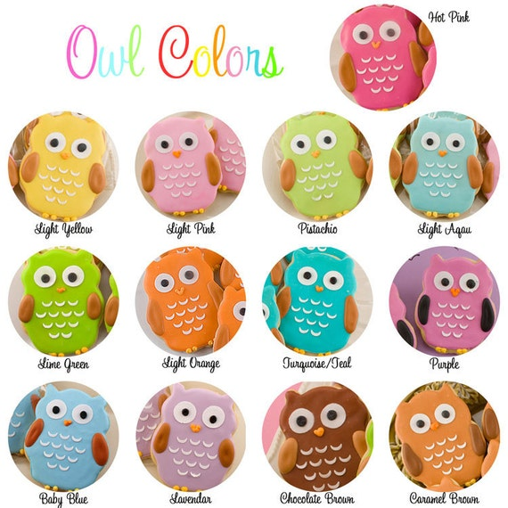 Owl Sugar Cookie Favors - 18 Favors (gift bagged and bowed)