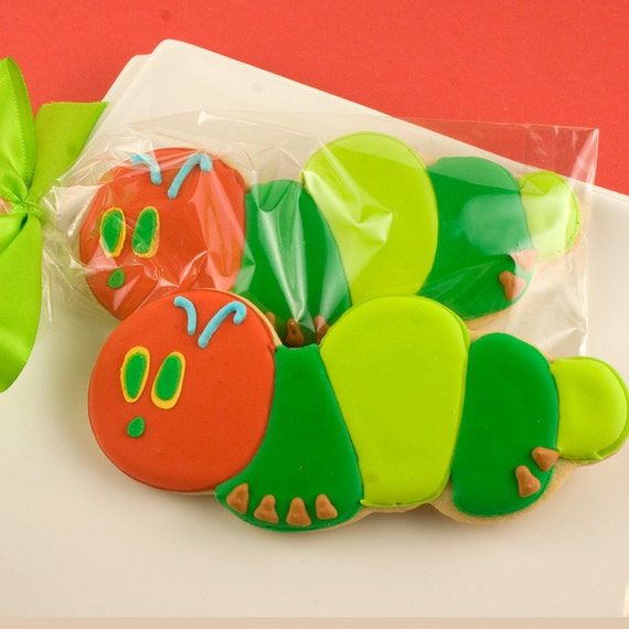 Caterpillar Sugar Cookie Favors (12 Favors, Bagged and  Bowed)