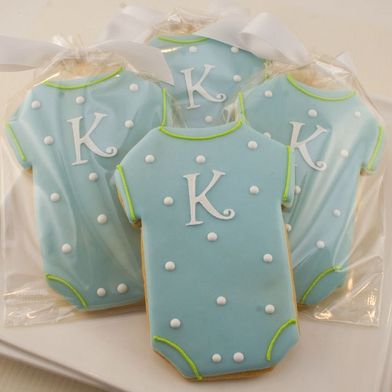 Onesie Cookie Favors, Personalized, Monogrammed for Baby (12 favors, gift bagged and bowed)