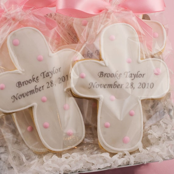 Cross Cookies, Baptism, Communion (12 Personalized Favors, Gift Bagged and Bowed)