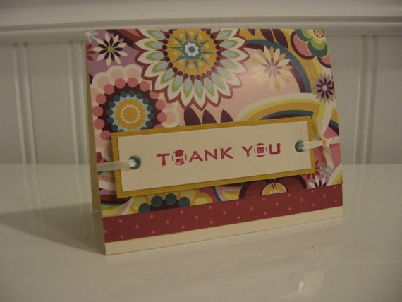 Florals and Whirls Thank You Card