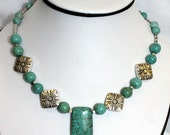 FREE SHIPPING---Turquoise Howlite Necklace
