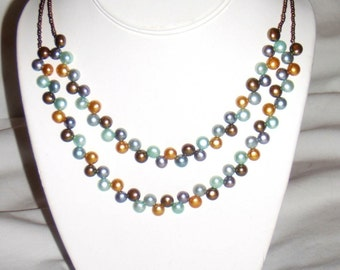 Double Strand Button Pearl Necklace