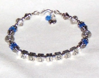 FREE SHIPPING---Mother, Grandmother 1-3 Name Personalized Bracelet