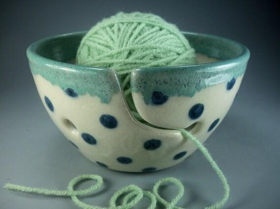 Sweet on Mom Polka Dot Yarn Bowl, Hand Made Stoneware Pottery