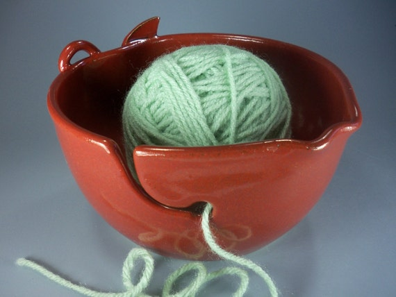 Apple Yarn Bowl, Hand Made Stoneware Pottery in  Orange-Red, Special Order