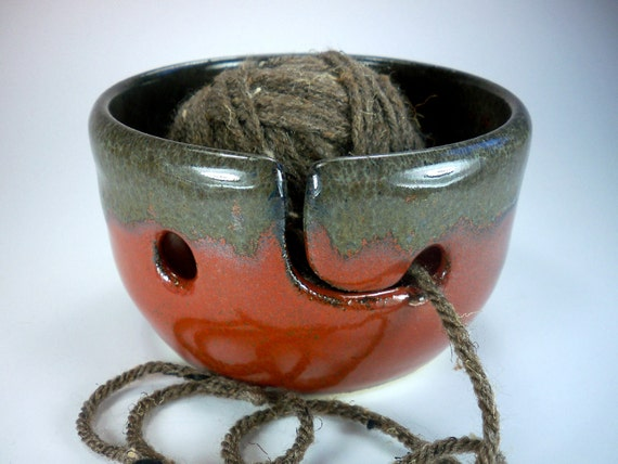 Yarn Bowl, Knitting Bowl, Hand Made Pottery in Orange Red and Moss Green,  In Stock