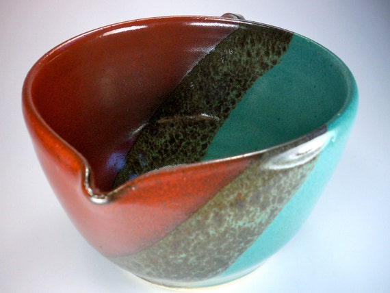 SALE, Batter Bowl, Hand Made Stoneware Pottery, Multi Colored Orange, Turquoise, Moss
