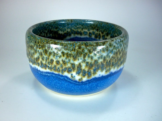 Cereal Bowl, Handmade Stoneware, Cobalt Blue, Brown and White Glaze