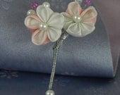 Wedding Kanzashi Flower Groom Boutonniere, Flower Corsage,  Groom Buttonhole Flower
