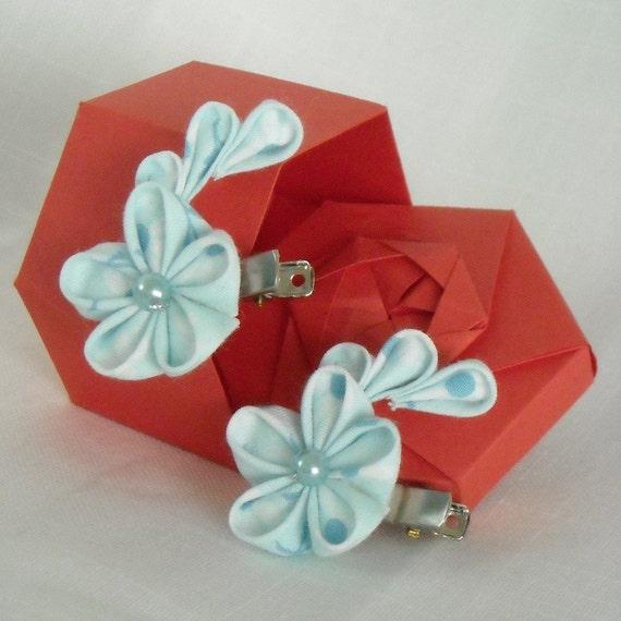 Pale Blue Japanese Tsumami Kanzashi Hairclip