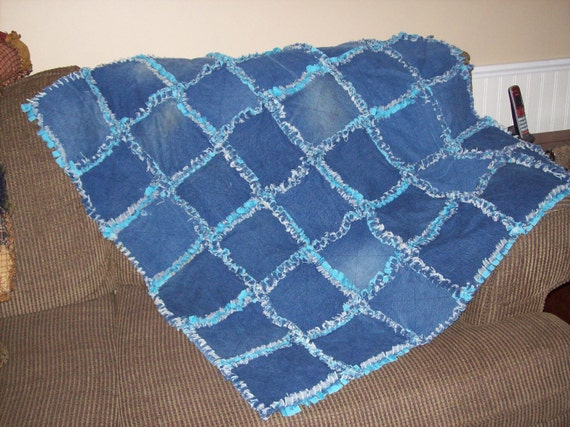 Handmade Upcycled Rag Quilt or Rug Made of Denim and Cotton