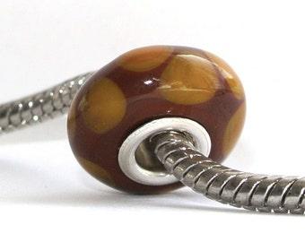 Lampwork Glass Bead fits ALL big hole bead European Bracelets - Copper Scallop