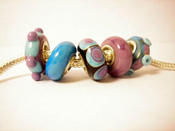 Lampwork Glass Beads fits Troll, Biagi and all other Big Hole Bead European Charm Bracelets - Purple and Blue Hippopotamus BHB