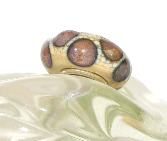 Lampwork Glass Bead for Trollbead, Biagi and ALL other Big Hole Bead European Charm Bracelets - Violet Scallop