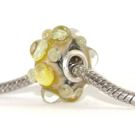 Lampwork Glass Big Hole Bead for Trollbead, Biagi and ALL other European BHB Charm Bracelets - Lemon Meringue