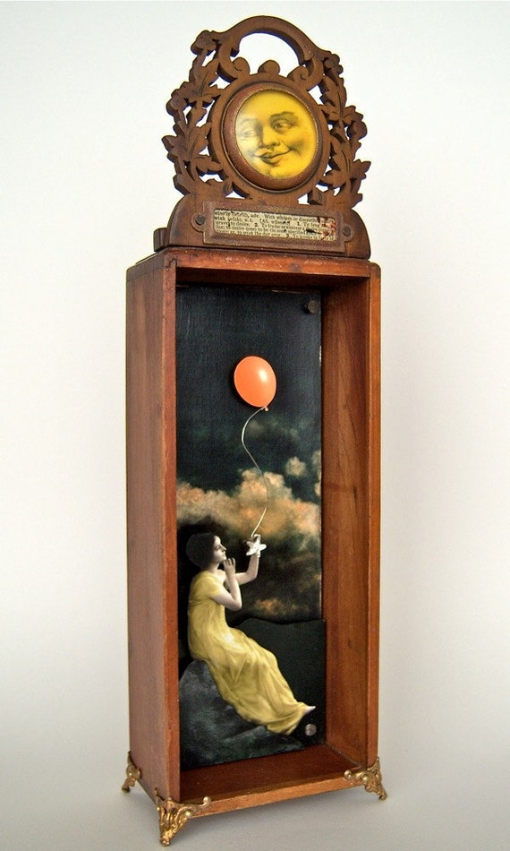 Reserved for Helene - Mixed Media Assemblage Shadow Box - What To Do on a Starless Night No. 2