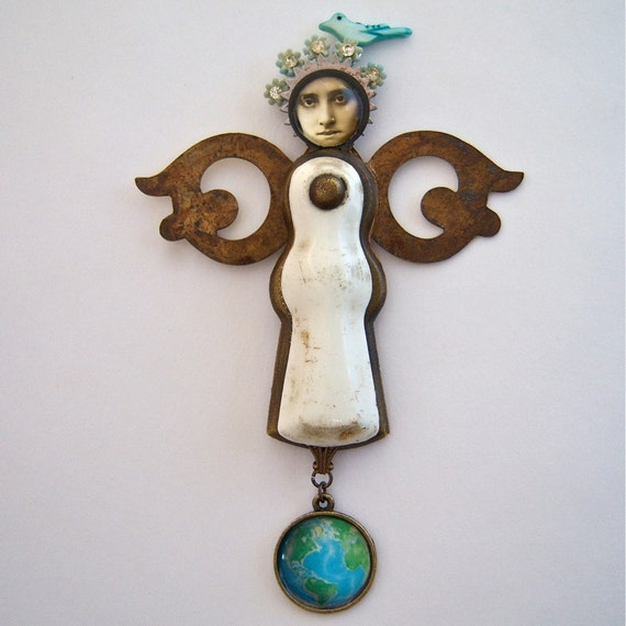 Art Doll Angel Mixed Media Assemblage - Reverence for All
