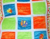 "Minky Appliqued Quilt ""Just Adorable Sea Creatures"""